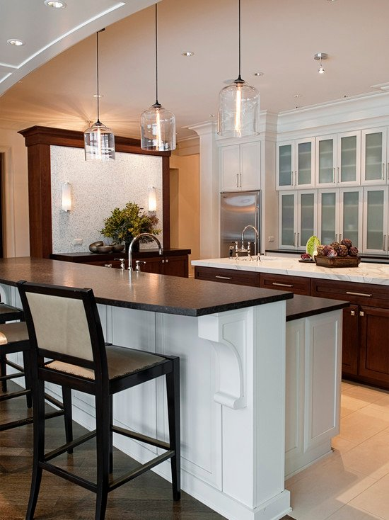 Bell jar modern pendant lights seen in naperville residence for Modern island pendant lighting