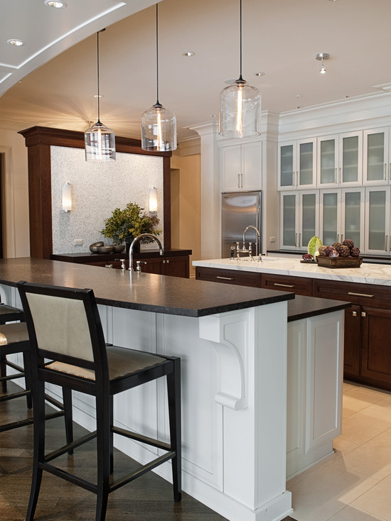 Bell jar modern pendant lights seen in naperville residence - Modern pendant lighting for kitchen ...