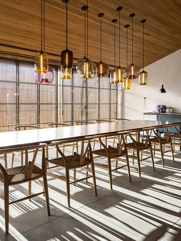 dining room colorful modern lighting