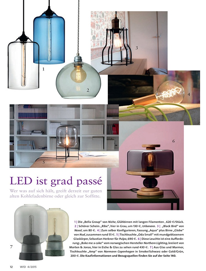 modern lighting inside Wohn Design magazine