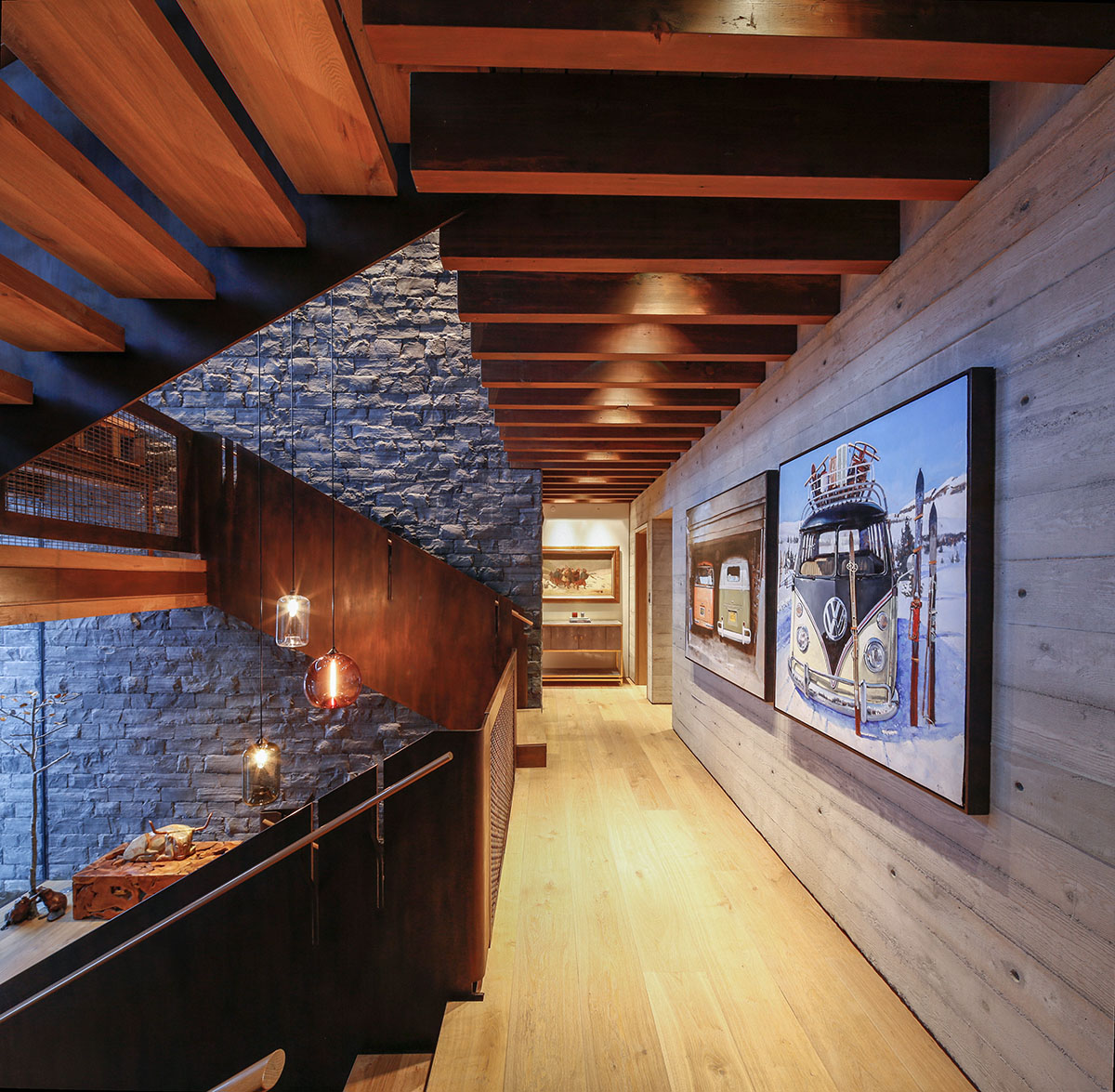 Staircase Pendant Lighting Adds Modern Charm To Rustic